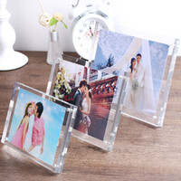 1 set acrylic transparent rectangular magnet photo frame wit...