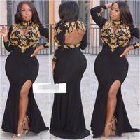 Plus Size Sexy Abito formale 2022 Maniche lunghe Dubai Prom Gowns Mermaid Oro Beakings Black Open Busto Abiti da sera con collo alto