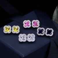 Nouveau mode Zircon Boucles d'oreilles Feuille Femmes Marque Créatrice de bijoux de mariage de luxe CZ Boucles d'oreilles Hommes Hip Hop