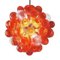 Lâmpadas laranja sonho fãs de teto luzes iluminação moderno pingente italiano sala de jantar arte art deco led blown bolha de vidro murano candelabro