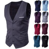 9 الألوان الرجال سترات واقية لون الصلبة الأعمال ملابس رسمية رجالي صدرية الأزياء العريس البدلات الرسمية العريس سترات واقية عادية سليم الصدرية مخصص S-6XL