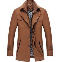 Erkek Kış Coat Moda Artı boyutu Kalın Yün Ceket Tasarımcı Katı Renk İnce Dış Giyim