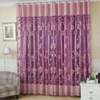 2 stücke 100 * 250 cm Elegante Luxus-High-End-Blumenmuster-Fenstervorhänge mit Perlen Tür Voile-Vorhang-Drapierungs-Trennraum-Raum.