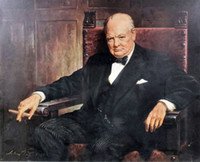 Portrait of Sir Winston Churchill Home Wall Art Decor Handcr...
