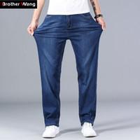 2020 nuevos hombres de clásico Thin Blue Jeans avanzada estiramiento recto flojo del dril de algodón Pantalones Hombre Marca pantalones más el tamaño 40 42 44 CX200701