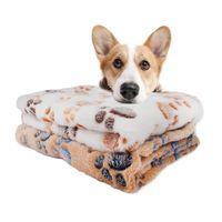 Lit de chien doux avec empreintes de patte de chien mignon imprime réversible cage de polaire tapis de lit pour animaux domestiques doublure de lit lavable en machine pour animaux de compagnie