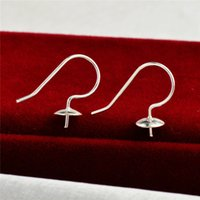 Fish Hook Earring Settings Simple Earwire with Peg Ends 925 Sterling Silver Jewellery DIY Findings for Pearl Party