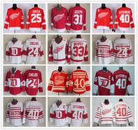 Vintage CCM Detroit Rote Flügel 40 Henrik Jersey Hockey Winter Classic 24 Chris Chelios 31 Curtis Joseph 33 Kris Draper 25 Mike Green Trikots
