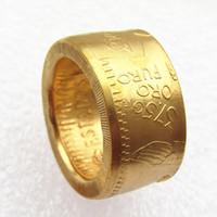 1943 المكسيك الذهب 50 بيزو عملة مطلية بالذهب كوين حلقة اليدوية مقاسات في 16/9