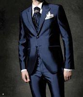 잘 생긴 두 버튼 들러리 피크 옷깃 신랑 턱시도 남성 정장 웨딩 / 파티 / 저녁 최고의 남자 재킷 (재킷 + 바지 + 넥타이 + 조끼) A117