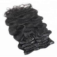 Populaire 10-30 pouces couleur naturelle vierge brazilian clip cheveux humain vague de corps extensions de cheveux pour femme