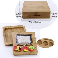 Square Bamboo wooden dab container flat tray storage box kit...