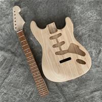 DIY مكتمل طقم الغيتار الكهربائي، الصلبة الماهوجني الجسم headstock مع لهب القيقب الأعلى، دون أجزاء الغيتار، الجيتار بالجملة