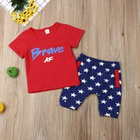 2019 New Summer Toddler Bambini Baby Boy vestiti in cotone a maniche corte Independence Day T-shirt Top Camicie Shorts Pantaloni Outfit Set