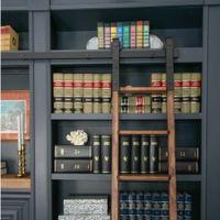 6ft-16ft نمط ريفي الأسود الصلب انزلاق مكتبة مكتب سلم الأجهزة المسار مجموعة الأسطوانة كيت (لا سلم)