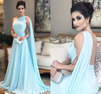One Shoulder Light Sky Blue celebrity Evening Dresses with c...