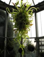 Dekorative grüne Hand Geblasenes Glas Nepenthes Chandeliers Lampen Indoor Laub Design Verschiedene Kette Kronleuchter Beleuchtung mit LED-Birnen
