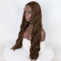 긴 자연 웨이브 가벼운 갈색 가발 무적 합성 레이스 앞 가발 아기 머리 열 저항 옴브 가발에 대 한 블랙 Wwomen