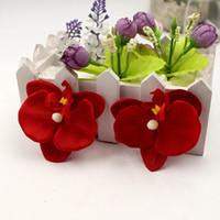 Phalaenopsis 100pcs / lot 6.5cm soie papillon Orchidée Fleurs artificielles tête Décoration Orchs Flores Cymbidium Fleurs Plantes