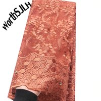 Pure Orange African Lace Fabric 2020 High Quality Nigerian T...