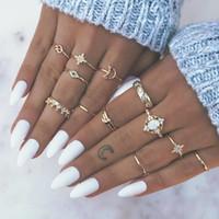 Урожай звезда опал кристалл пальцев кольца набор 13 шт. Богемская золотая луна Корона Кольца Кольца женщин Пляж Свадебная вечеринка Ювелирные изделия Аксессуары