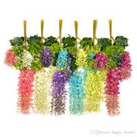 Glicinias Decoración de la boda Flores decorativas artificiales Guirnaldas para la fiesta festiva Boda Suministros para el hogar multi-colores 110 cm