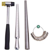 THGS 4 Juegos de herramientas Sizer anillo de mandril con metal Mandril apresto del dedo vara de medir con nosotros 0-15 Y Medidor de Anillos Guage de 27 piezas Ci