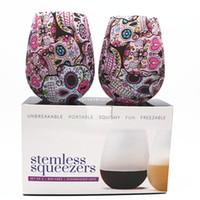 뜨거운 판매 실리콘 와인 잔 보헤미아 국립 해골 버블 물은 야외 파티 맥주 컵 위스키 음료 용기 병