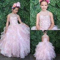 2019 Light Pink Girls Pageant Dress Jewel Neck Lace Beaded T...