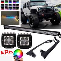 Bluetooth Light Aplicación RGB halo LED de luz multicolor vainas de 50 pulgadas del trabajo del LED Barra de techo Soportes para Jeep Wrangler JK 07-15 Montaje