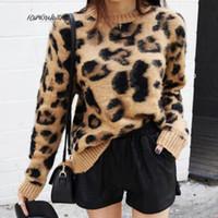 Print Leopard Cashmere Свитера для женщин Пуловер Мохар Свитер с V-образным вырезом Корейский с длинным рукавом вязаные пуловеры O-образным вырезом зима теплые перемычки