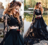 Черные две части свадебные платья с длинным рукавом 2019 ruffles evilated юбка кружевной верхней готической страны панк свадебное платье