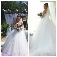 2019 белый тюль бальное платье страна африканские свадебные платья с кружевной аппликацией Китай длинный поезд приема свадебное платье свадебные Gwons