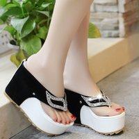 Lucyever Kadın Yaz Ayakkabı Kadın Rhinestone Ayaklı Spuer Yüksek topuklu takozları Platformu Moda Plajı Sandalet Zapatos Mujer Floplar