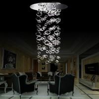 Blown moderna lámpara de cristal de la burbuja de cristal clara pendiente de la luz LED de la sala de estar escalera Decoración empotrado araña de cristal de iluminación