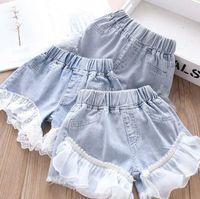 Bebek Kız Denim Şort Çocuklar Inci Dantel Patchwork Şort Yaz Moda Kısa Kot Çocuk Örgü Prenses Kısa Pantolon Rahat Şort AYP662