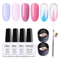 6шт Elite99 гель лак для ногтей+лак для ногтей ручка наборы подарочный набор замочить от УФ / LED ногтей искусство лак маникюр УФ праймер 10мл набор