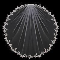 الأبيض العاج الزفاف الحجاب 1 الطبقة الخدود يزين الدانتيل مع مشط الزفاف للبنات كاتدرائية فاخرة طويلة طول قصير