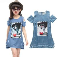Big Girls Dress 3D stampato manica corta Denim Dress Summer Girls Abiti Kids Designer Clothes Ragazze bambini vestiti