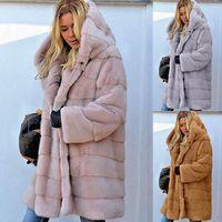 Manga de las mujeres de color sólido abrigos de pieles del invierno largo para mujer con capucha de vestir exteriores más el tamaño de las señoras de las capas calientes