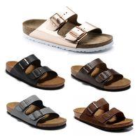 2020 de Arizona Beach Nueva Cork verano sandalias zapatillas casual doble hebilla Zuecos Sandalias de las mujeres los hombres se deslizan en los zapatos flip flop de pisos US3.5-15.5