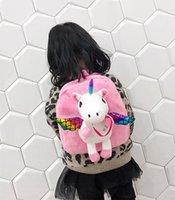 Mlxfb Girls Wing Plush With NEW Hot Bag Backpack Rucksack Cute Unicorn School Kids Vaidm