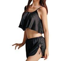 Sexy Summer col en V Camisole Shorts Pyjamas Ensemble de nuit Lingerie sexy en satin de soie confortable Pyjama femmes Taille Plus Pijama Nouveau