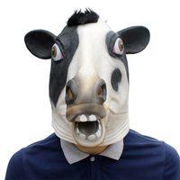 Djurhuvudmask latex deluxe nyhet halloween kostym party cow party cosplay tillbehör
