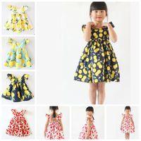 Yaz Kız Giydirme Meyve Limon Desen Bebek Kız Giydirme Çocuk pantolonlar Çocuk Fly Kol Elbiseler ins kızlar çiçek plaj elbisesi KKA6978
