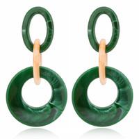 Vintage Muster geometrische Form Runde Acrylharz Essigsäure Ohrringe übertrieben Quaste Ohrringe