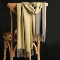 Großhandels-Winter-Doppelseitige Kaschmir-Schal-Frauen starke warmer Schal Wraps Lady Fest Schal Mode Quasten Pahimina Decke High Quality