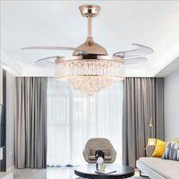 42/36 pouces ventilateurs de plafond léger lames invisibles Ventilateurs de plafond Ventilateur moderne Lampe de ventilateur Salon Chambre à coucher Chambre à coucher Chambre à coucher Pendentif Lampe + Télécommande