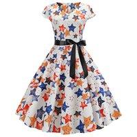 Süßes Vintages Kleid für Frauen-Stern Gestreifte Blatt Bogen Sommer-Kurzschluss-Hülsen-Blumendruck Rockabilly Robe Femme Sundress Vestidos-Partei-Kleid