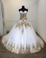 Weiß und Gold Spitze Brautkleider 2020 New Brautkleider Reale Fotos Schatzapplique-Korsett Tulle afrikanische Designer Günstige